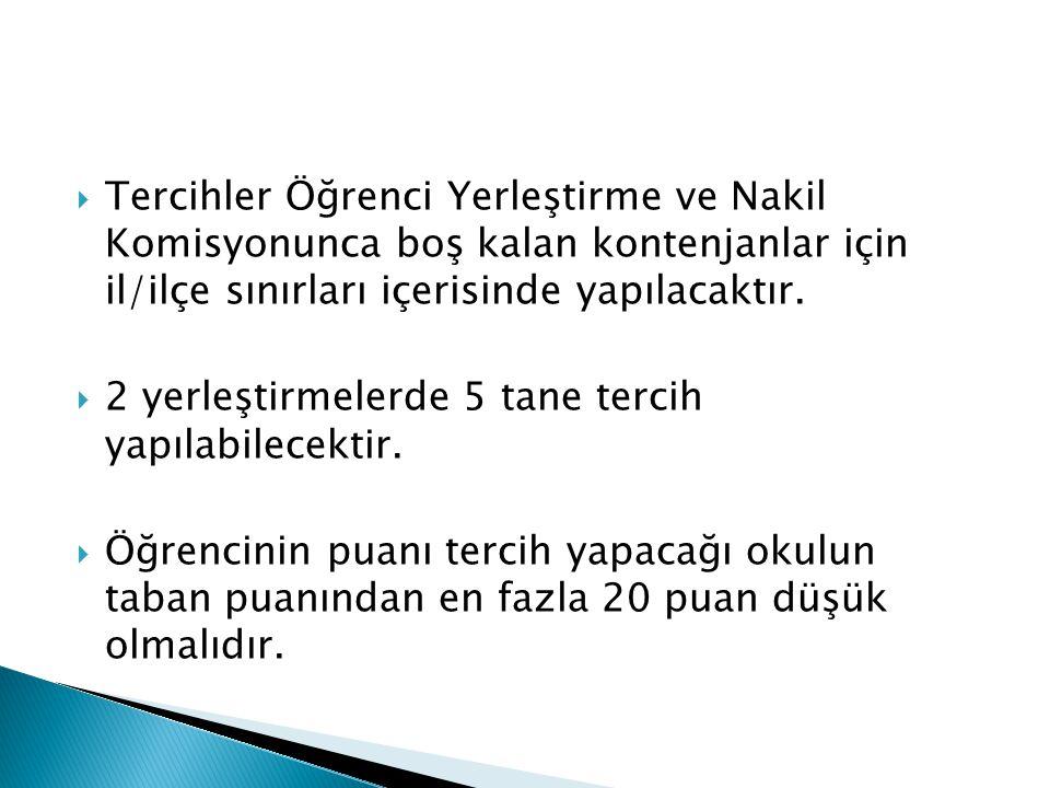 Tercihler Öğrenci Yerleştirme ve Nakil Komisyonunca boş kalan kontenjanlar için il/ilçe sınırları içerisinde yapılacaktır.