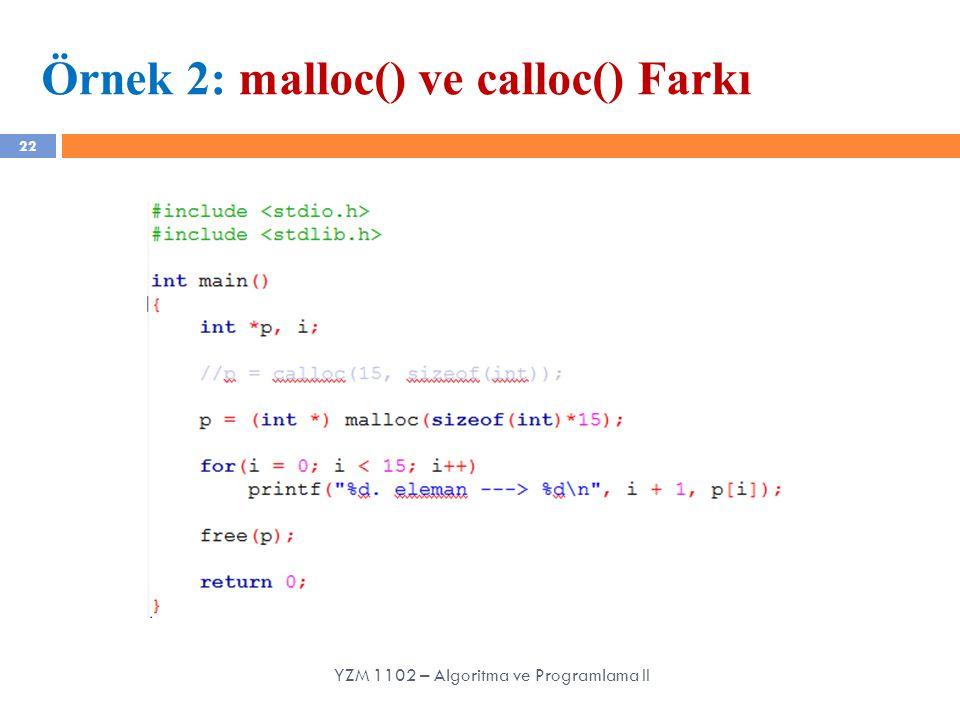 Örnek 2: malloc() ve calloc() Farkı