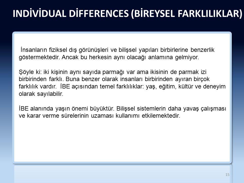 INDİVİDUAL DİFFERENCES (BİREYSEL FARKLILIKLAR)