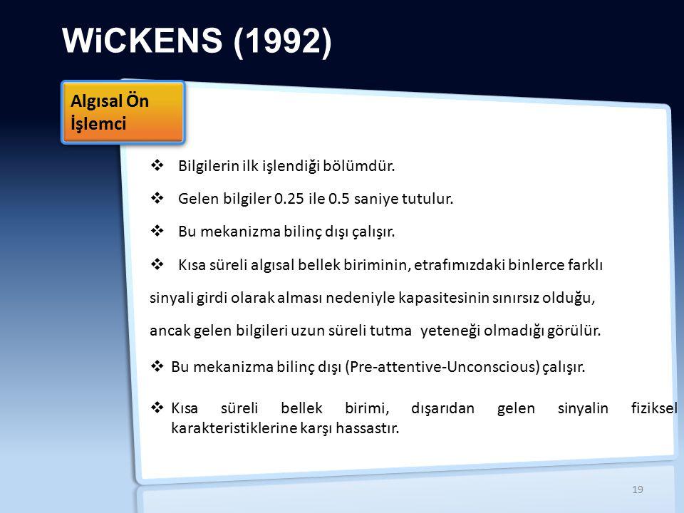 WiCKENS (1992) Algısal Ön İşlemci Bilgilerin ilk işlendiği bölümdür.