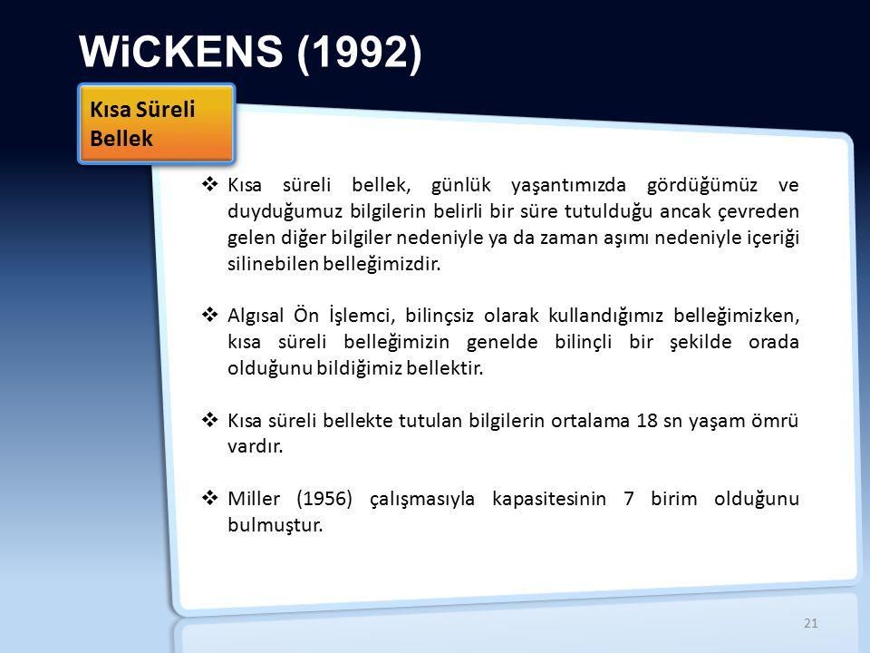 WiCKENS (1992) Kısa Süreli Bellek