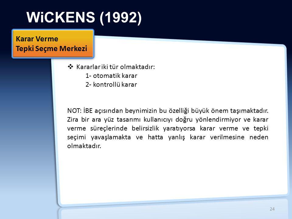 WiCKENS (1992) Karar Verme Tepki Seçme Merkezi