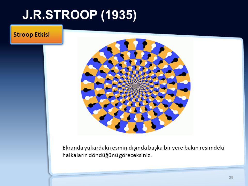 J.R.STROOP (1935) Stroop Etkisi İİ