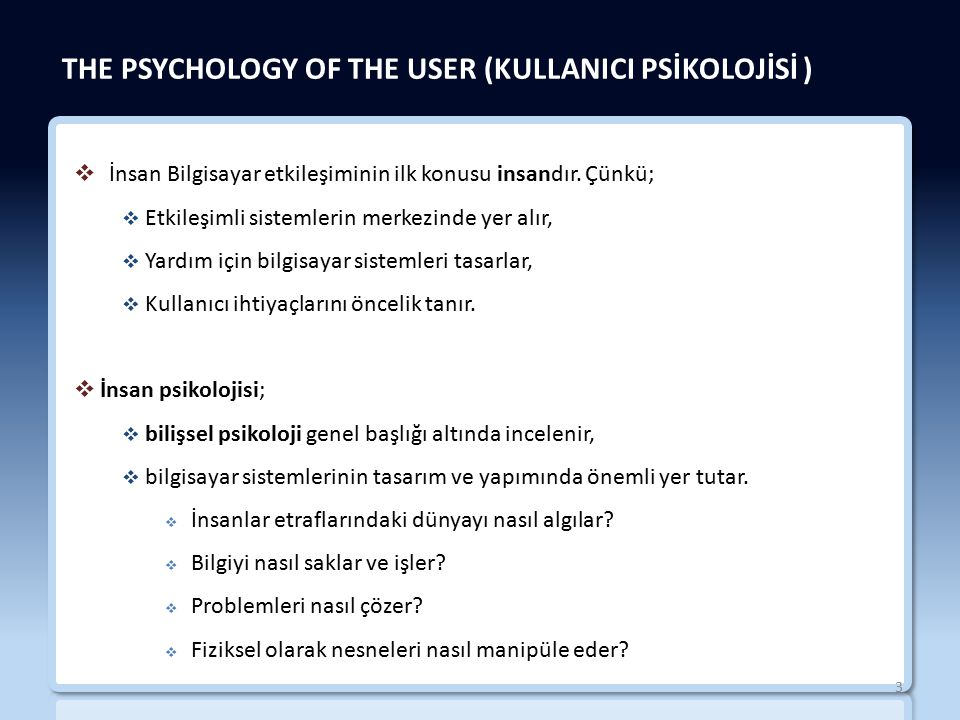 THE PSYCHOLOGY OF THE USER (KULLANICI PSİKOLOJİSİ )