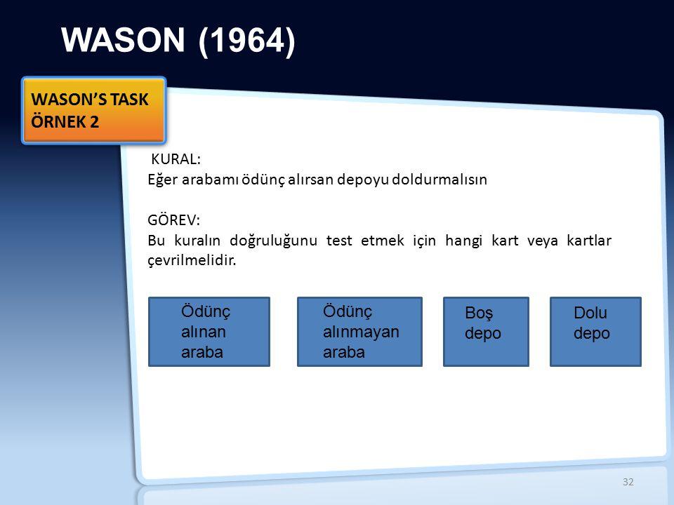 WASON (1964) WASON'S TASK ÖRNEK 2 İİ KURAL: