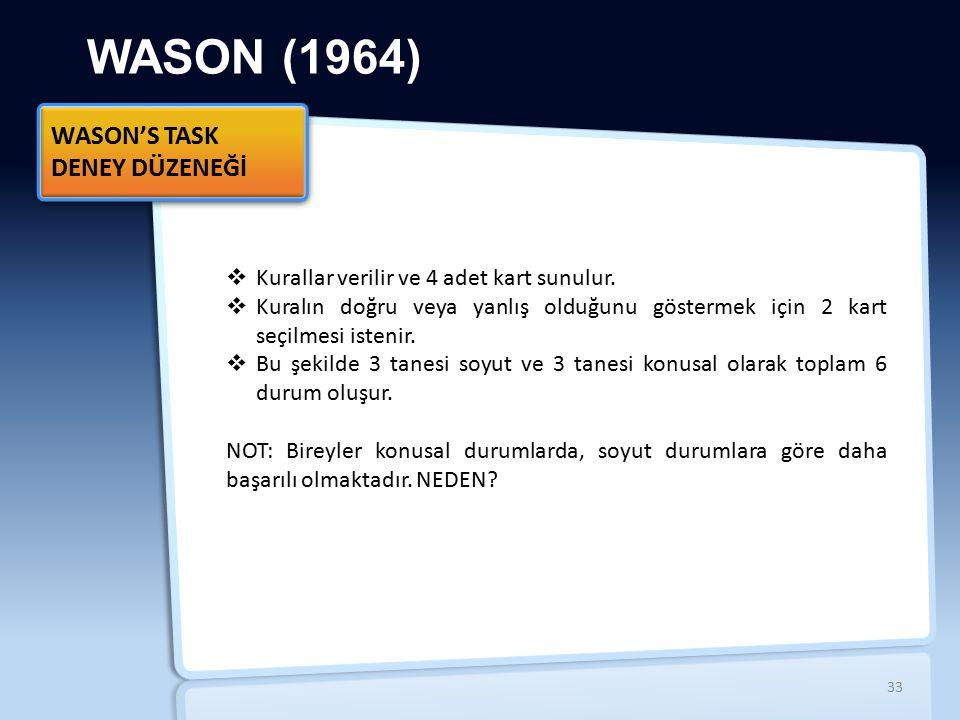 WASON (1964) WASON'S TASK DENEY DÜZENEĞİ