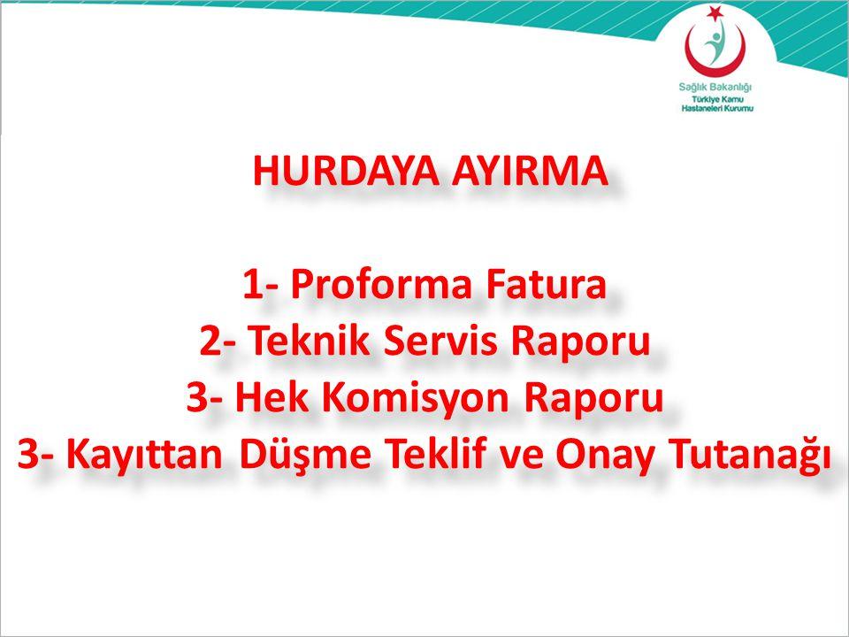 HURDAYA AYIRMA 1- Proforma Fatura 2- Teknik Servis Raporu 3- Hek Komisyon Raporu 3- Kayıttan Düşme Teklif ve Onay Tutanağı