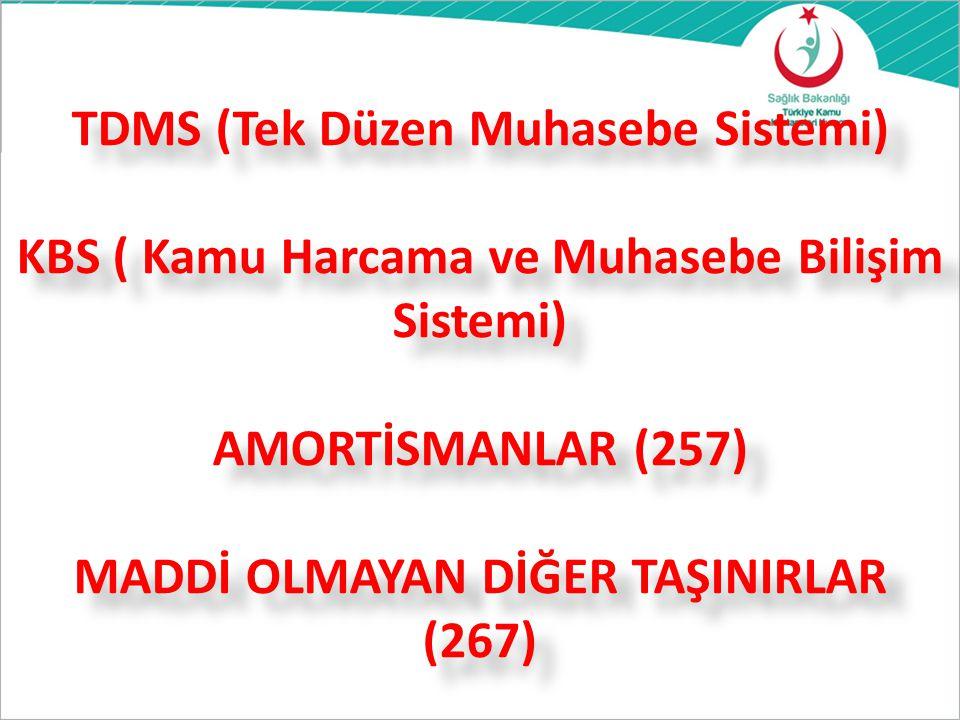 TDMS (Tek Düzen Muhasebe Sistemi) KBS ( Kamu Harcama ve Muhasebe Bilişim Sistemi) AMORTİSMANLAR (257) MADDİ OLMAYAN DİĞER TAŞINIRLAR (267)