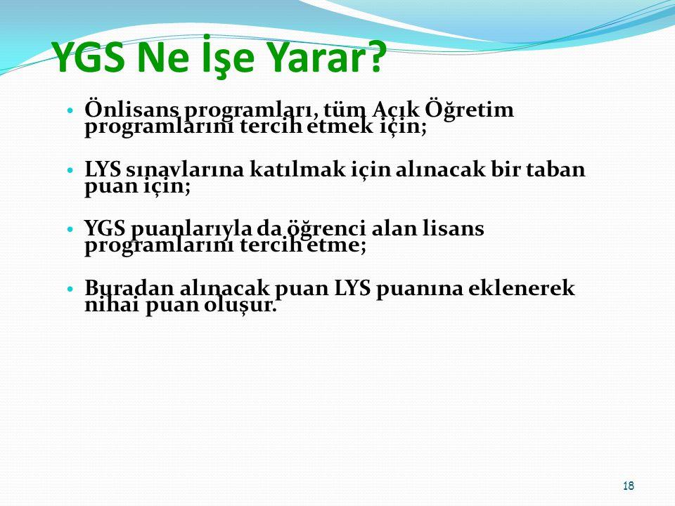 YGS Ne İşe Yarar Önlisans programları, tüm Açık Öğretim programlarını tercih etmek için;