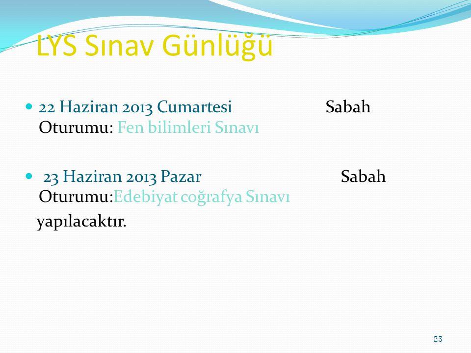 LYS Sınav Günlüğü 22 Haziran 2013 Cumartesi Sabah Oturumu: Fen bilimleri Sınavı.