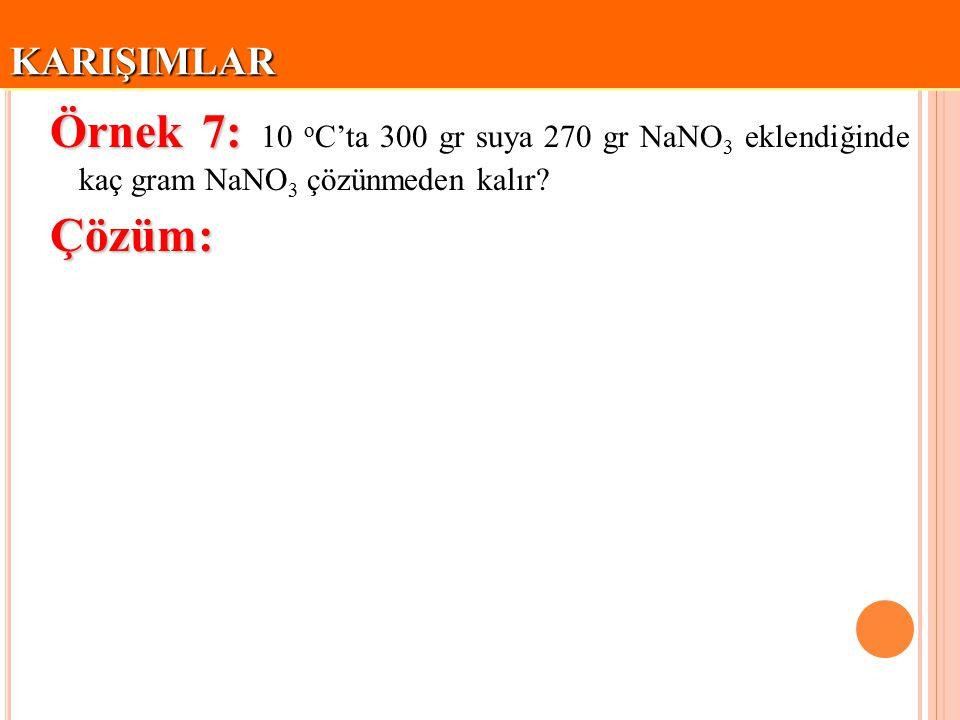 KARIŞIMLAR Örnek 7: 10 oC'ta 300 gr suya 270 gr NaNO3 eklendiğinde kaç gram NaNO3 çözünmeden kalır