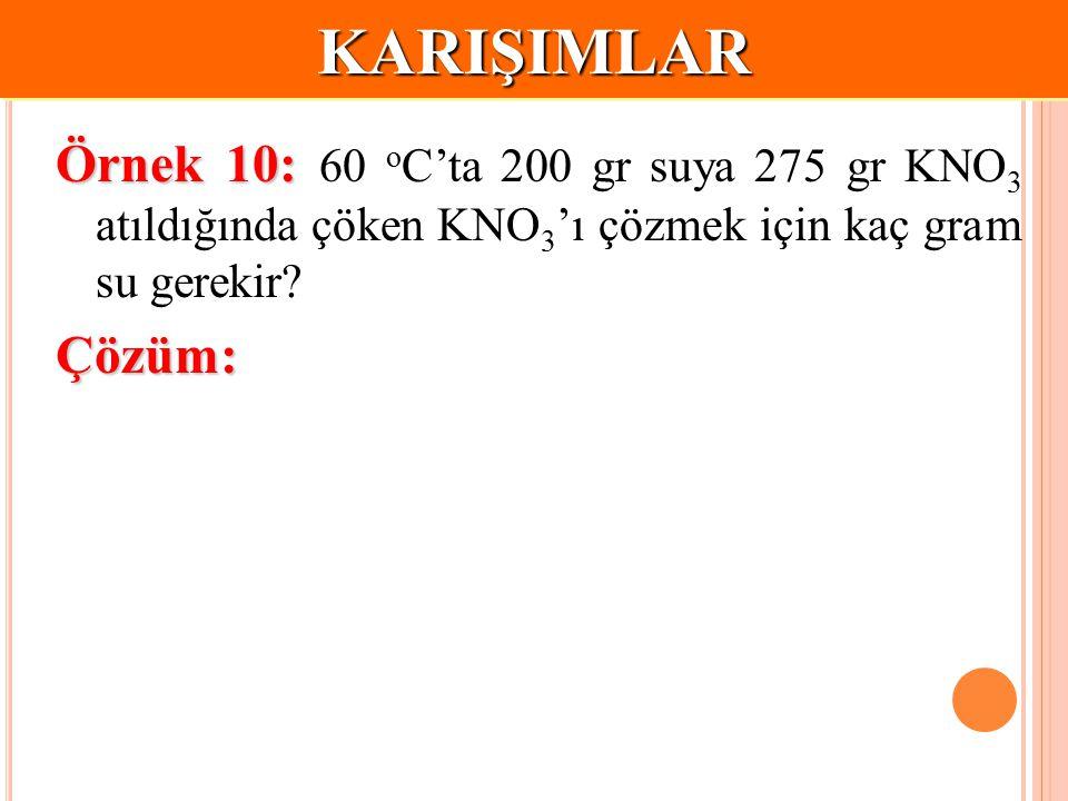KARIŞIMLAR Örnek 10: 60 oC'ta 200 gr suya 275 gr KNO3 atıldığında çöken KNO3'ı çözmek için kaç gram su gerekir