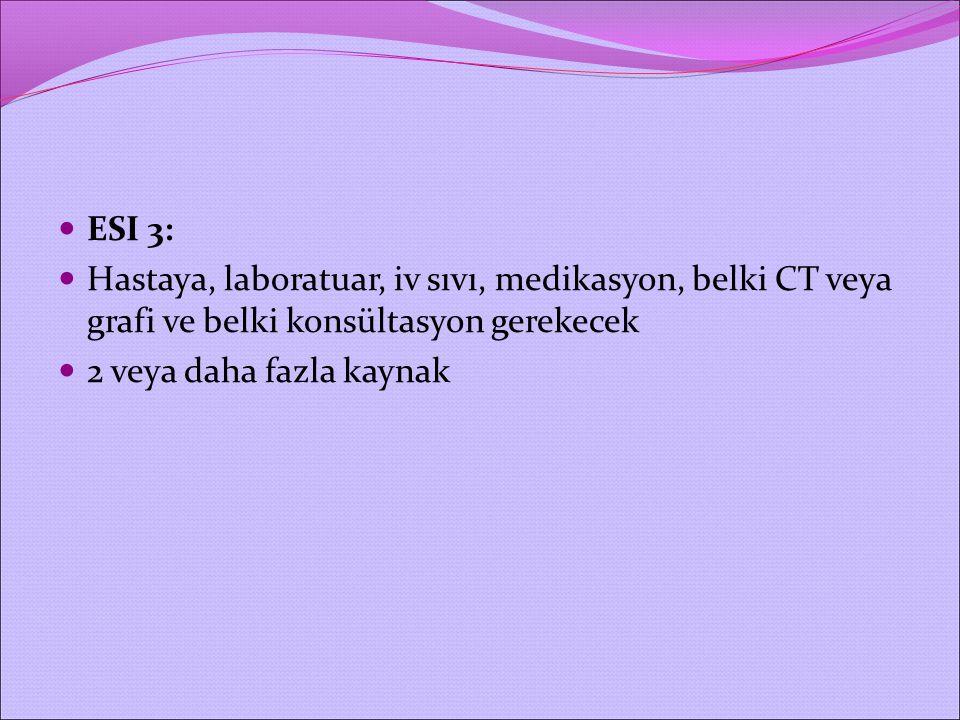 ESI 3: Hastaya, laboratuar, iv sıvı, medikasyon, belki CT veya grafi ve belki konsültasyon gerekecek.