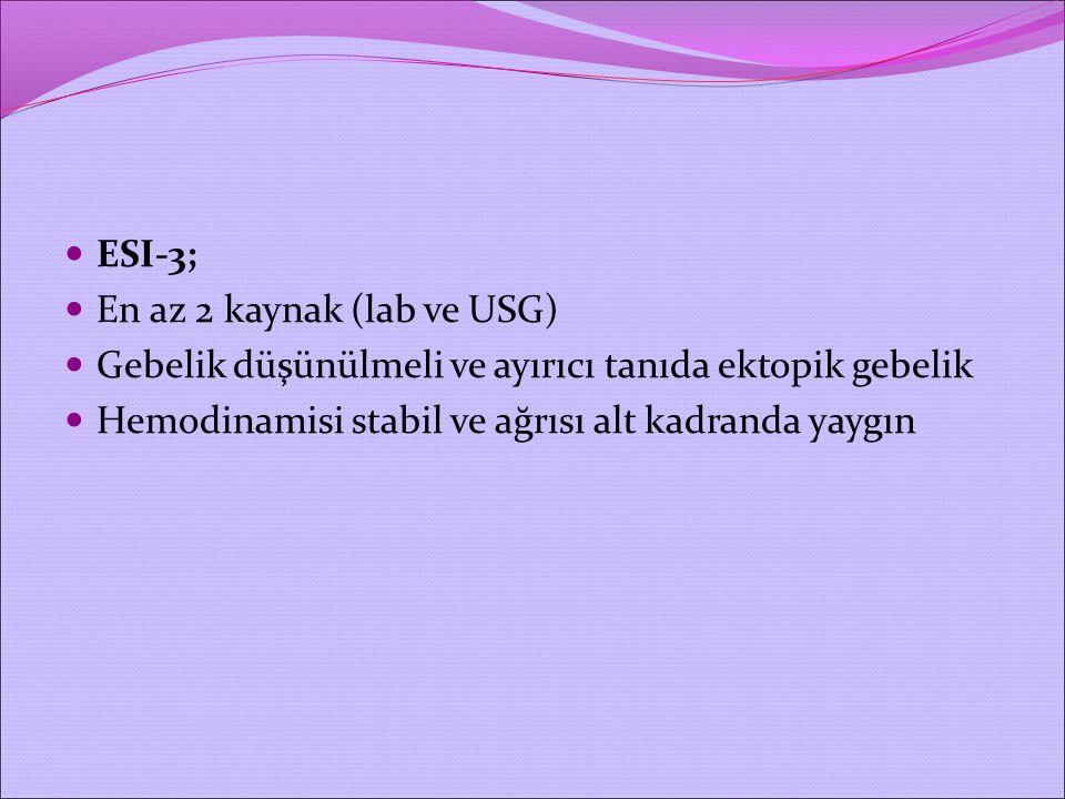 ESI-3; En az 2 kaynak (lab ve USG) Gebelik düşünülmeli ve ayırıcı tanıda ektopik gebelik.