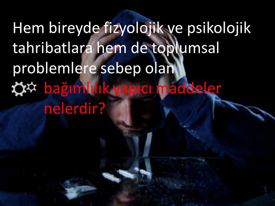 Hem bireyde fizyolojik ve psikolojik tahribatlara hem de toplumsal problemlere sebep olan bağımlılık yapıcı maddeler nelerdir