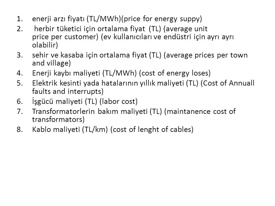enerji arzı fiyatı (TL/MWh)(price for energy suppy)