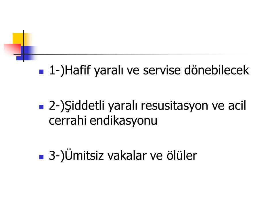 1-)Hafif yaralı ve servise dönebilecek