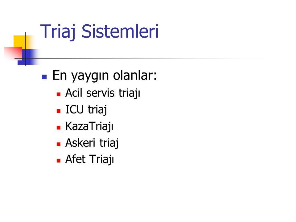 Triaj Sistemleri En yaygın olanlar: Acil servis triajı ICU triaj