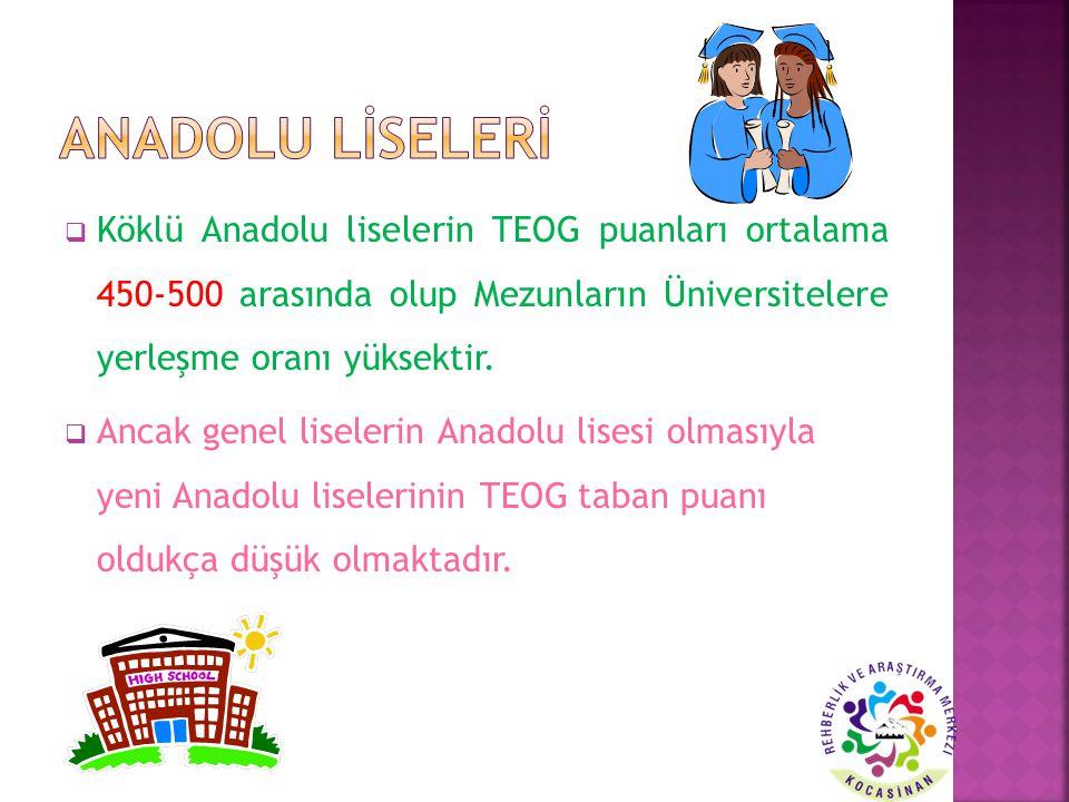 ANADOLU LİSELERİ Köklü Anadolu liselerin TEOG puanları ortalama 450-500 arasında olup Mezunların Üniversitelere yerleşme oranı yüksektir.