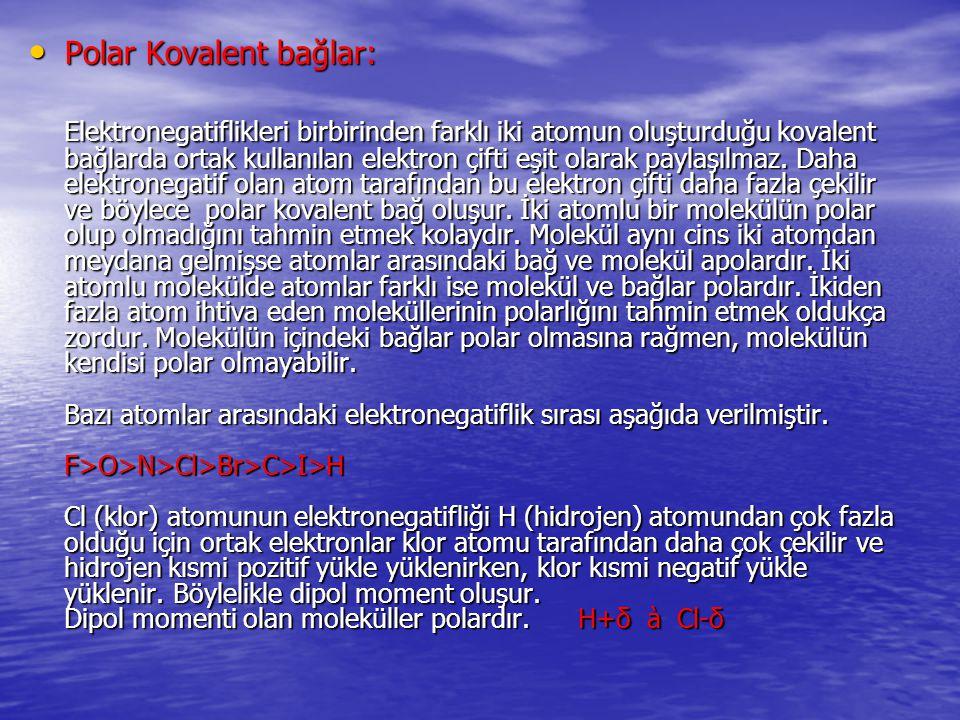 Polar Kovalent bağlar: