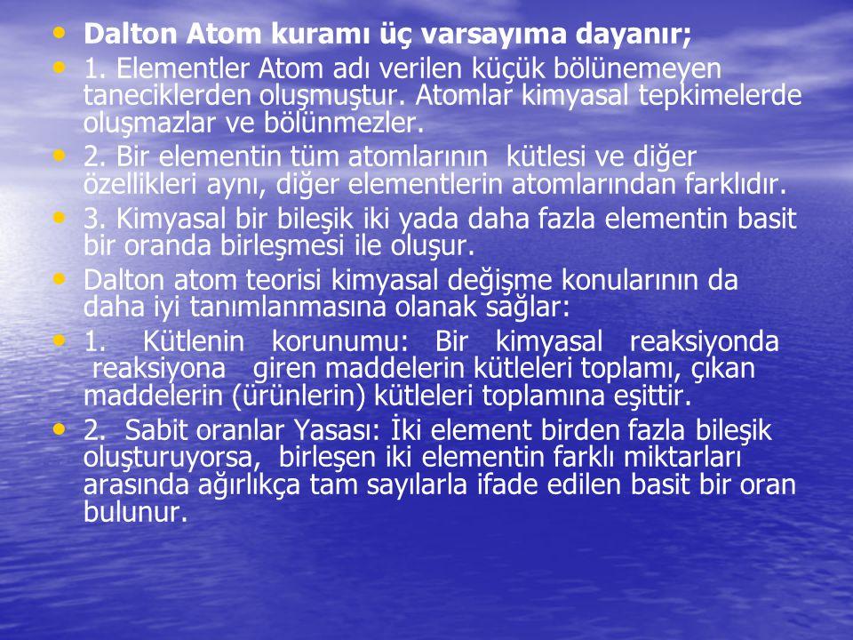 Dalton Atom kuramı üç varsayıma dayanır;