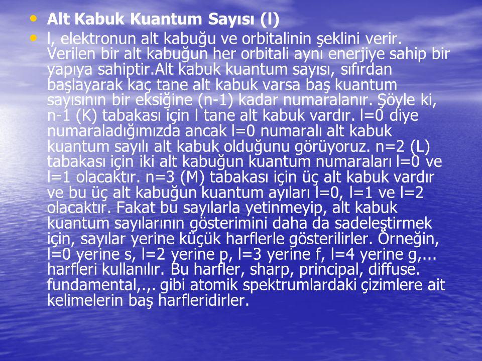 Alt Kabuk Kuantum Sayısı (l)