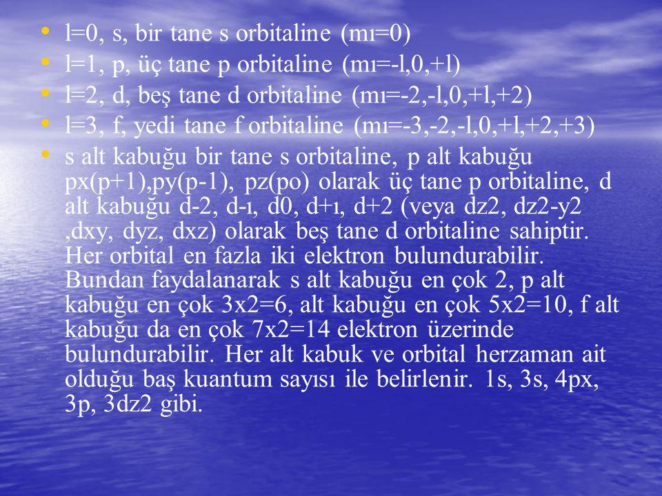 l=0, s, bir tane s orbitaline (mı=0)