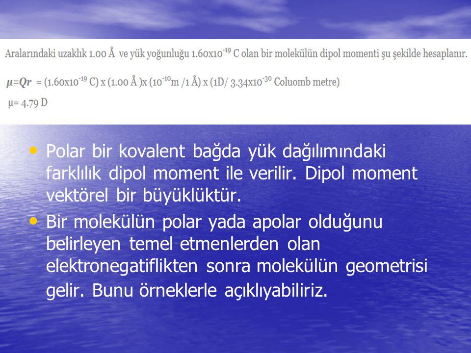 Polar bir kovalent bağda yük dağılımındaki farklılık dipol moment ile verilir. Dipol moment vektörel bir büyüklüktür.