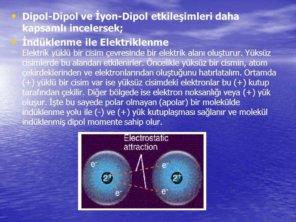 Dipol-Dipol ve İyon-Dipol etkileşimleri daha kapsamlı incelersek;