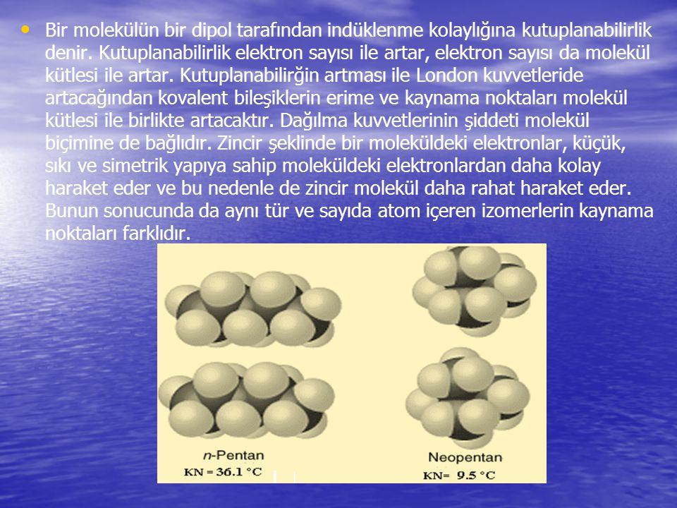 Bir molekülün bir dipol tarafından indüklenme kolaylığına kutuplanabilirlik denir.