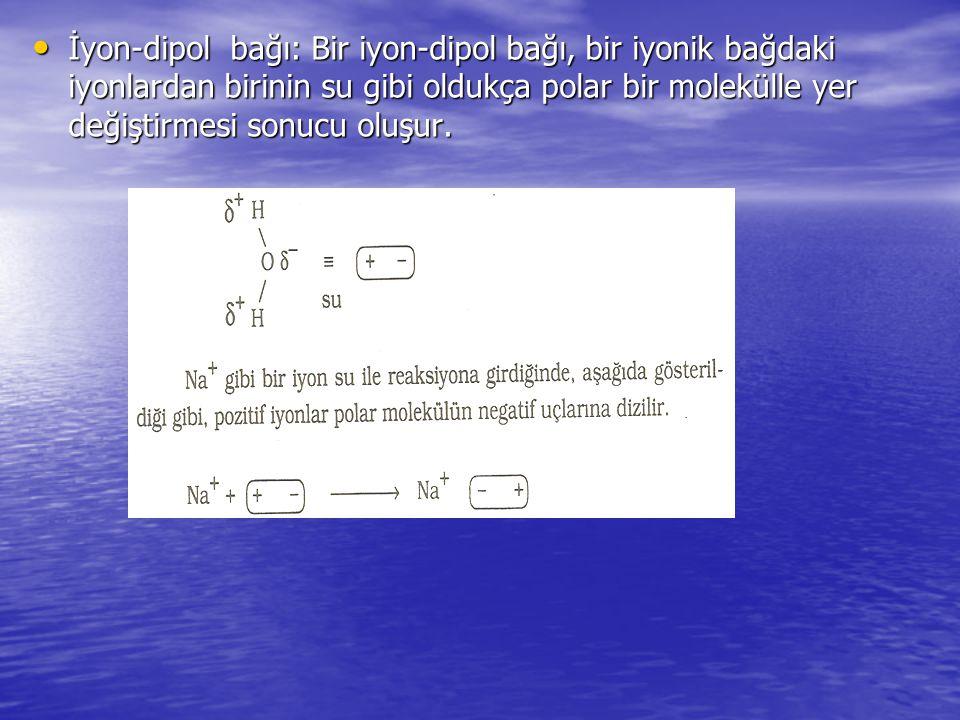 İyon-dipol bağı: Bir iyon-dipol bağı, bir iyonik bağdaki iyonlardan birinin su gibi oldukça polar bir molekülle yer değiştirmesi sonucu oluşur.