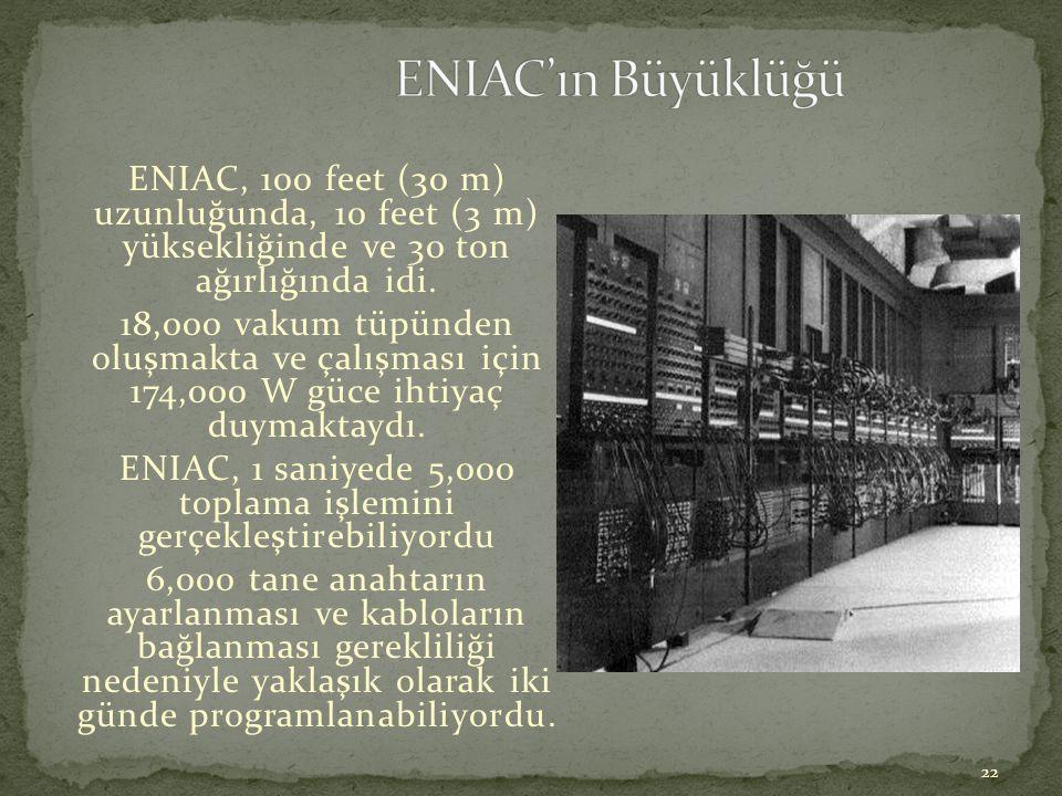 ENIAC, 1 saniyede 5,000 toplama işlemini gerçekleştirebiliyordu