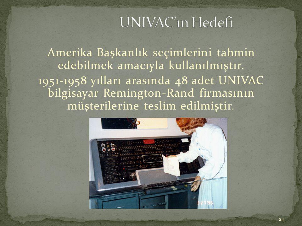 UNIVAC'ın Hedefi Amerika Başkanlık seçimlerini tahmin edebilmek amacıyla kullanılmıştır.