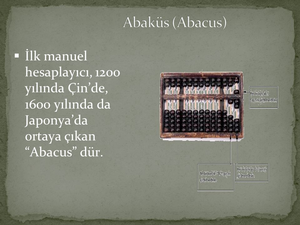 Abaküs (Abacus) İlk manuel hesaplayıcı, 1200 yılında Çin'de, 1600 yılında da Japonya'da ortaya çıkan Abacus dür.