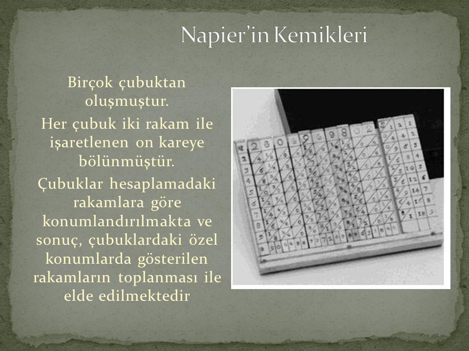 Napier'in Kemikleri Birçok çubuktan oluşmuştur.