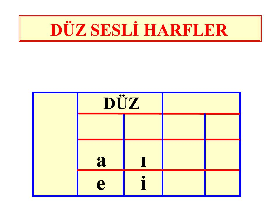 DÜZ SESLİ HARFLER DÜZ a ı e i