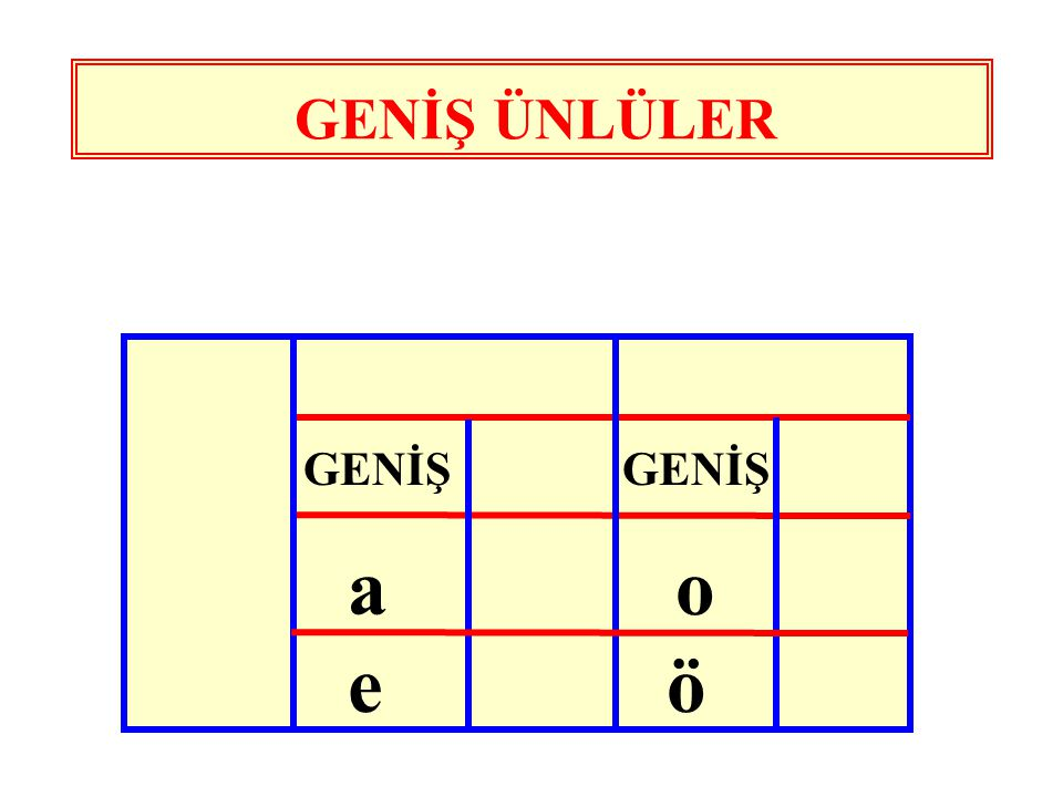 GENİŞ ÜNLÜLER GENİŞ GENİŞ a o e ö