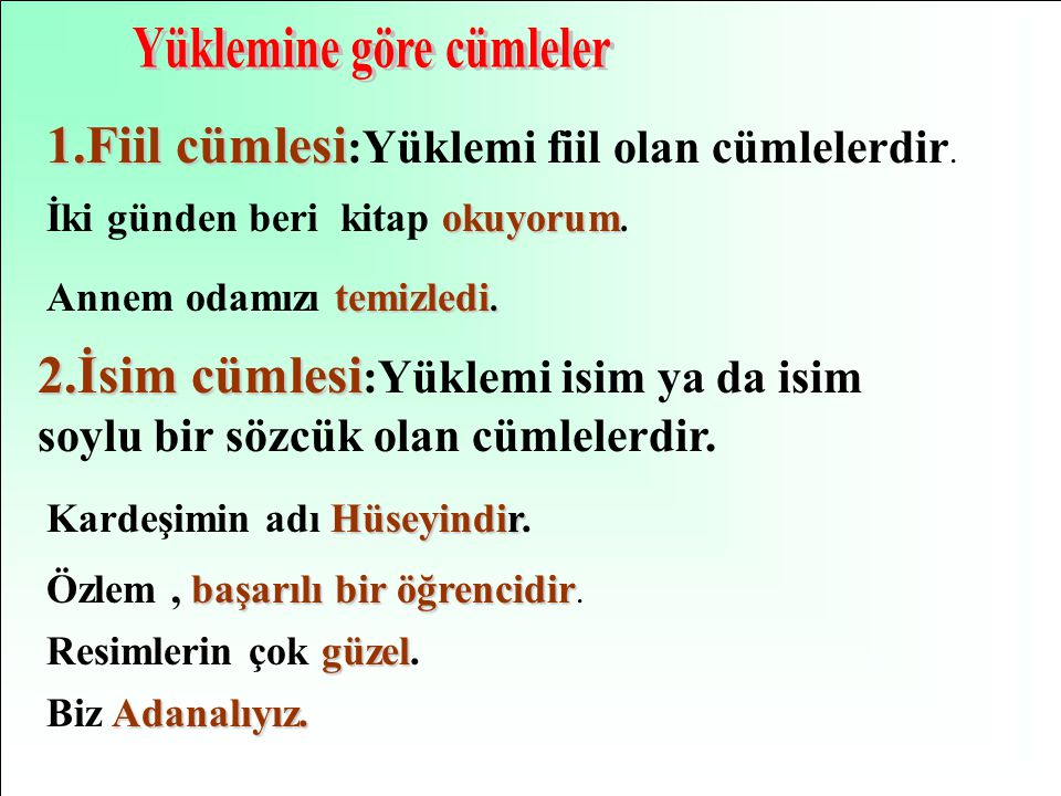 Yüklemine göre cümleler