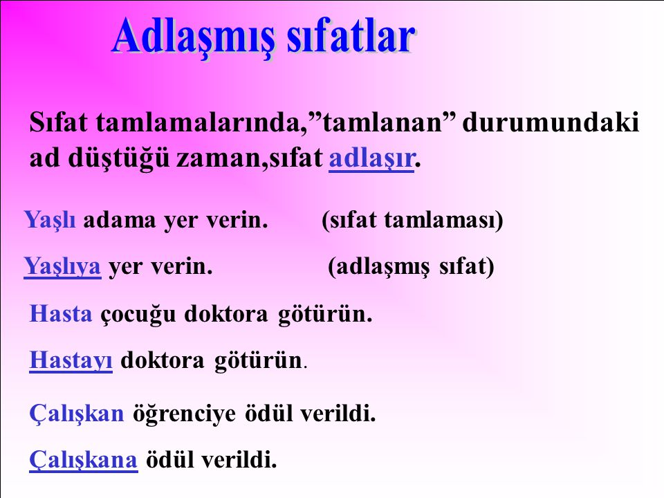 Adlaşmış sıfatlar Sıfat tamlamalarında, tamlanan durumundaki ad düştüğü zaman,sıfat adlaşır. Yaşlı adama yer verin. (sıfat tamlaması)