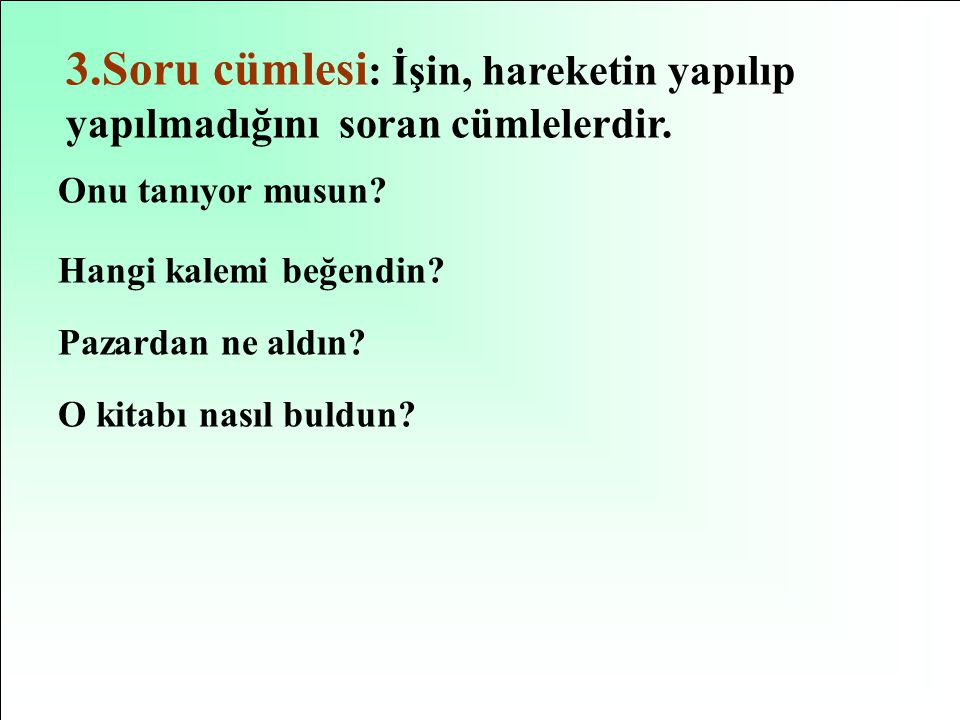 3.Soru cümlesi: İşin, hareketin yapılıp yapılmadığını soran cümlelerdir.