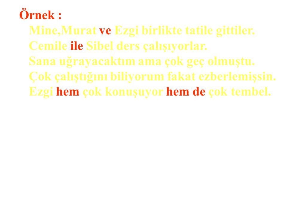 Örnek : Mine,Murat ve Ezgi birlikte tatile gittiler. Cemile ile Sibel ders çalışıyorlar. Sana uğrayacaktım ama çok geç olmuştu.