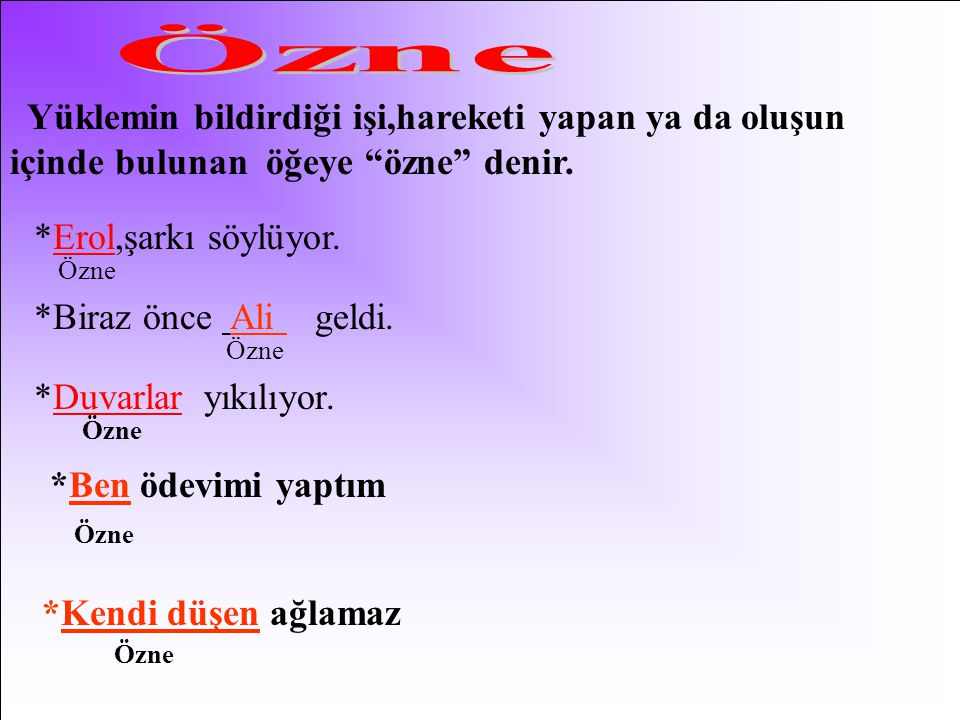 Özne Yüklemin bildirdiği işi,hareketi yapan ya da oluşun içinde bulunan öğeye özne denir. *Erol,şarkı söylüyor.