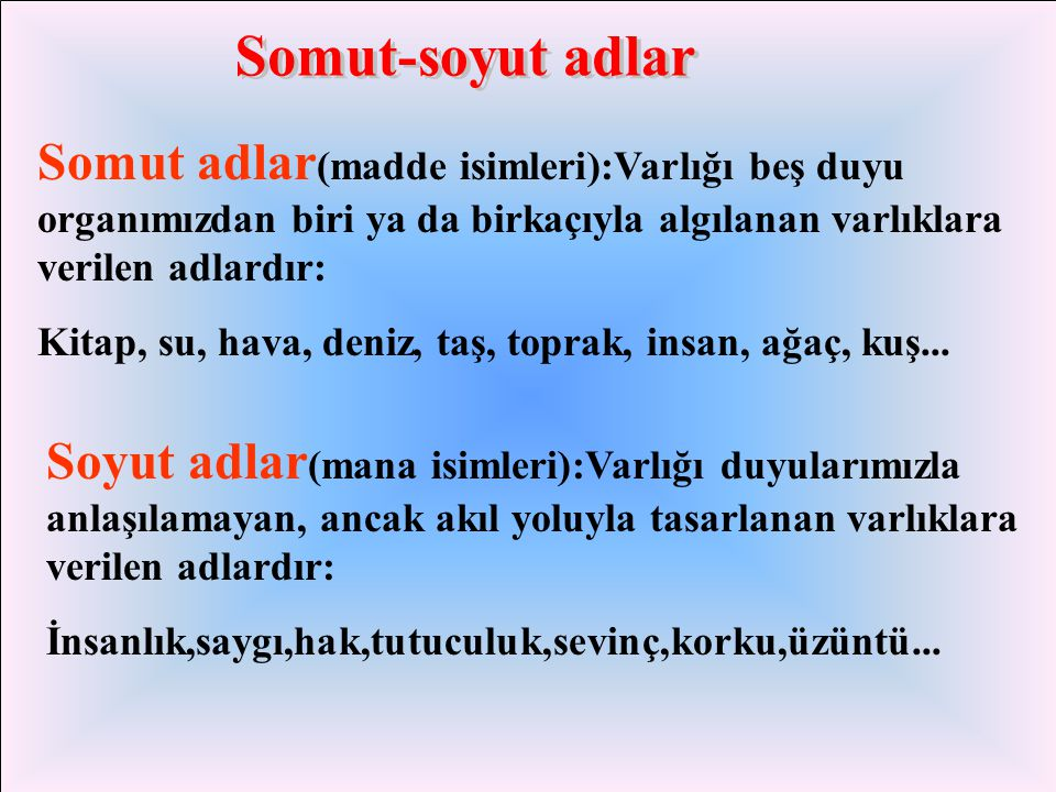 Somut-soyut adlar Somut adlar(madde isimleri):Varlığı beş duyu organımızdan biri ya da birkaçıyla algılanan varlıklara verilen adlardır: