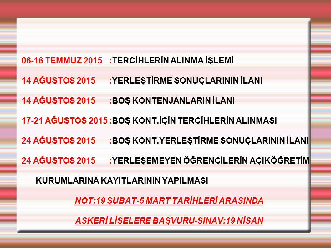 06-16 TEMMUZ 2015 :TERCİHLERİN ALINMA İŞLEMİ