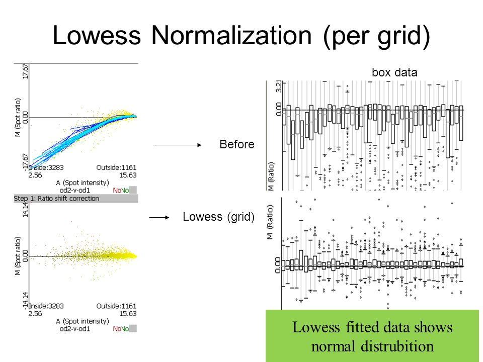 Lowess Normalization (per grid) box data