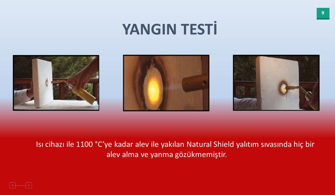 YANGIN TESTİ Isı cihazı ile 1100 °C'ye kadar alev ile yakılan Natural Shield yalıtım sıvasında hiç bir alev alma ve yanma gözükmemiştir.