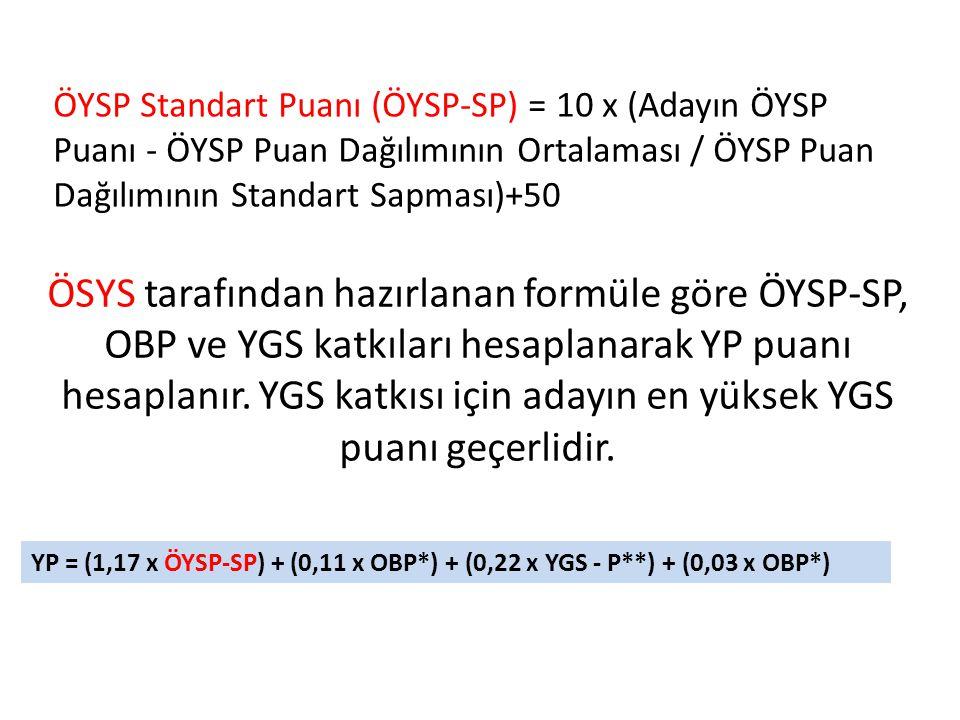 ÖYSP Standart Puanı (ÖYSP-SP) = 10 x (Adayın ÖYSP Puanı - ÖYSP Puan Dağılımının Ortalaması / ÖYSP Puan Dağılımının Standart Sapması)+50