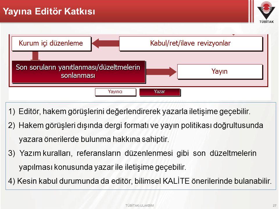 Yayına Editör Katkısı Editör, hakem görüşlerini değerlendirerek yazarla iletişime geçebilir.