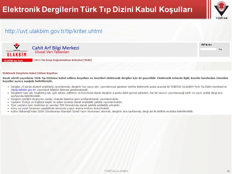 Elektronik Dergilerin Türk Tıp Dizini Kabul Koşulları