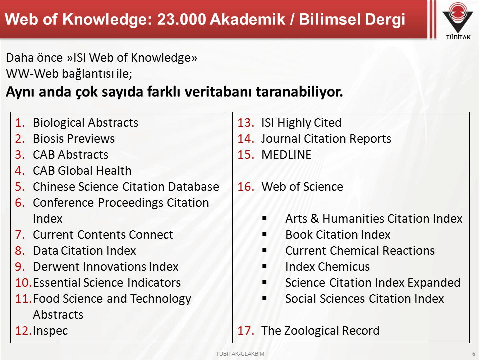 Web of Knowledge: 23.000 Akademik / Bilimsel Dergi